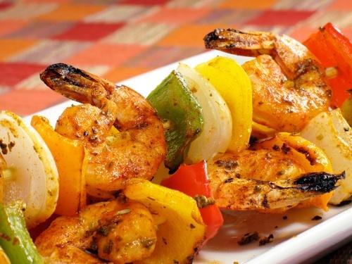 Seafood Skewers with Vegetable Medley
